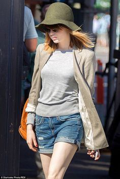 Emma Stone showed off her long slender legs in denim shorts while on a stroll with her boyfriend Andrew Garfield in New York on Tuesday. Tiny Shorts, Denim Shorts, Andrew Garfield, Oversized Blazer, Emma Stone, Boyfriend, How To Wear, Jackets, Fashion