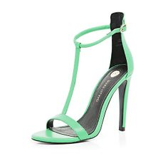 Green T bar barely there stiletto sandals #riverisland