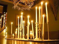 Candlestick centerpiece winter wonderland
