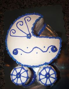 Faux Fondant Baby Carriage Cake