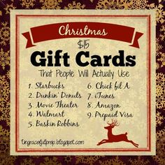 Christmas $15 Gift Cards that People Will Actually Use