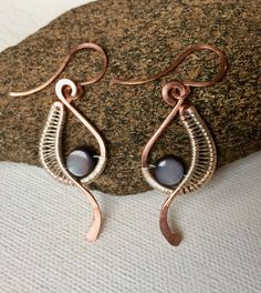 Mixed Metal Wire Wrapped Earrings by Dreswireddesigns on Etsy