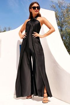 A crisscross halter neckline cascades down to dramatic split wide legs on our sexy black jumpsuit in a luxe, light and airy fabric. Halter Jumpsuit, Cotton Jumpsuit, White Jumpsuit, White Outfits, Casual Outfits, Black And White Aesthetic, Textiles, Office Looks, Groom Dress
