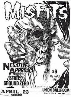 The Misfits, Negative Approach punk hardcore flyer