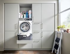 Make everyday tasks simple with these utility room storage ideas Schüller. Small Utility Room, Utility Room Storage, Utility Room Designs, Small Laundry Rooms, Laundry Room Storage, Storage Room, Kitchen Storage, Storage Ideas, Organization Ideas