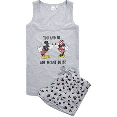 Disney Mickey and Minnie Mouse Shorts Set ($18) ❤ liked on Polyvore featuring intimates, sleepwear, pajamas, disney pjs, disney pajamas, disney and disney sleepwear