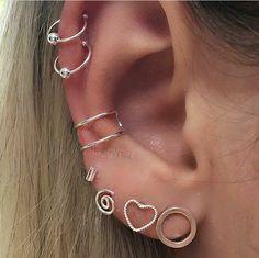 New Jewerly Earrings Piercing Tragus Ideas Piercings Corps, Helix Piercings, Fake Piercing, Cute Ear Piercings, Helix Earrings, Cuff Earrings, Crystal Earrings, Clip On Earrings, Silver Earrings