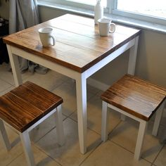 Farmhouse Breakfast or Small Dining Table Set with or without Stools by TheAppelShop on Etsy https://www.etsy.com/listing/240803854/farmhouse-breakfast-or-small-dining