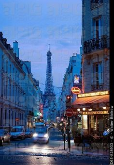 Eiffel Tower seen from rue Sainte-Dominique in the evening, Paris, France