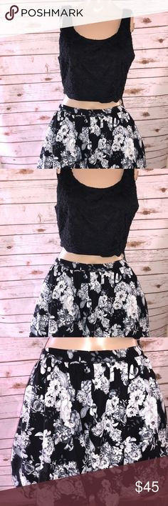 Prom or homecoming dress Two piece dress ! Top has lace detail and the skirt has roses Dresses Prom