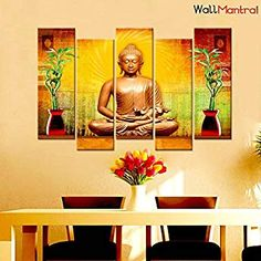 52371d18f9 WallMantra Golden Buddha Wall Painting / 5 Pieces Canvas Print Wall Hanging/Stretched  and Framed