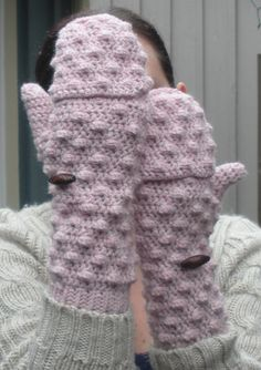 Powder Pink convertible Mittens Fingerless Gloves by luvbuzz,