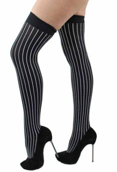 Black & Gray Pinstripe Thigh High Over The Knee Socks