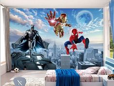 Quality 3d superhero photo wallpaper. Batman Iron Man Spiderman wall mural for kids' room. One of our many superhero wallpapers. Free worldwide shipping.