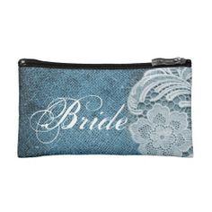 rustic navy blue burlap lace country bride cosmetic bag  http://www.zazzle.com/themeweddingboutique*