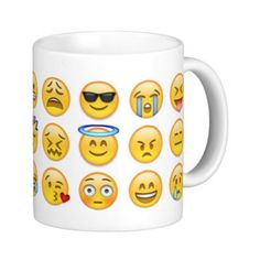 Coffee Mug Emoji Faces Mug (21 CAD) ❤ liked on Polyvore featuring home, kitchen & dining and drinkware
