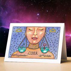 Libra birthday card libra star sign zodiac astrology birthday card libra stationery gift sun sign zodiac card for birthdays Libra Sun Sign, Pisces Star Sign, Gemini Star, Libra Birthday, Libra Art, Different Zodiac Signs, New Year Greeting Cards, Astrology, Birthday Cards
