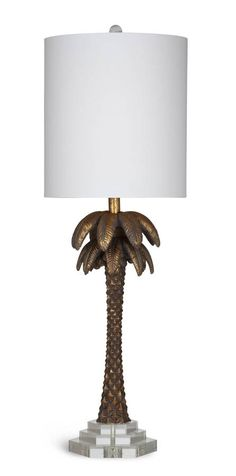 Palms Gold Leaf Resin Glass Shade Table Lamp