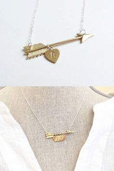 Arrow Necklace Initial Necklace Mothers Necklace by primlark