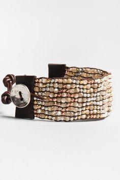 leather bracelet cuff with semi precious stones WOW!
