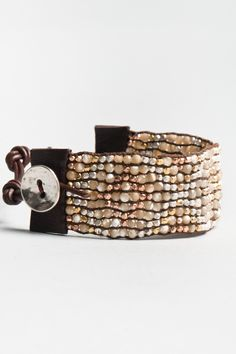 leather bracelet cuff with semi precious stones
