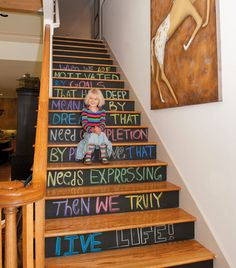 Chalk It Up: 40 Creative Ways to Use Chalkboard Paint via Brit + Co. I absolutely LOVE this! I'm doing this on our stairs, each set a different colored chalk paint!