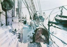 """The Deck of the 'Endurance', 1915.Frank Hurley's famous early colour photographs of Sir Ernest Shackleton's ill-fated 'Endurance' voyage, as part of the British Imperial Trans-Antarctic Expedition, 1914-1917. Hurley was the official photographer on the expedition.  """"Early in 1915, their ship 'Endurance' became inexorably trapped in the Antarctic ice."""