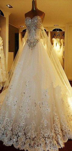 A-Line Sweetheart Rhinestone Lace Long Wedding Dresses,VPWD262 – VeryProm