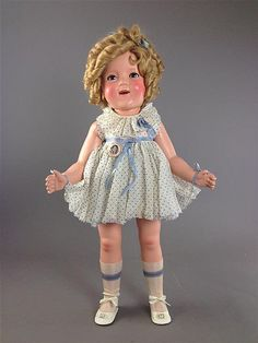 """25"""" IDEAL COMPOSITION SHIRLEY TEMPLE IN TAGGED DRESS- by Apple Tree Auction Center"""