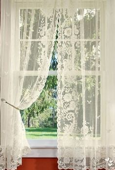 Lace curtains all through the house! Mom was Irish and loved her lace curtains. We had Pricilla curtains in the living room♥ Country Curtains, Kitchen Curtains, Drapes Curtains, Bedroom Curtains, Lace Bedroom, Elegant Curtains, Curtains Living, Cottage Curtains, Gypsy Curtains