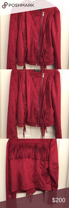Suede Leather Jacket With Fringes A brand new gorgeous suede leather jacket for the smart girl in size XL Jackets & Coats Blazers