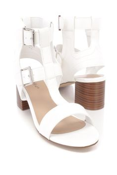 These sexy and stylish single sole sandal chunky heels are a must have this season! The features include a faux leather upper with a T strap center, peep toe, stitched detailing, side buckle closures, smooth lining, and cushioned footbed. Approximately 2 inch chunky heels.