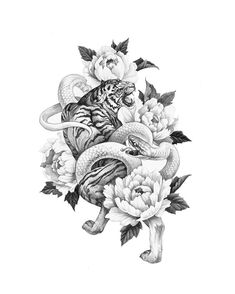 Snake Tattoo Realismo Ideas For 2020 Asian Tattoo Sleeve, Sleeve Tattoos, Snake And Flowers Tattoo, Flower Tattoos, Body Art Tattoos, Small Tattoos, Japanese Tiger Tattoo, Totenkopf Tattoos, Asian Tattoos