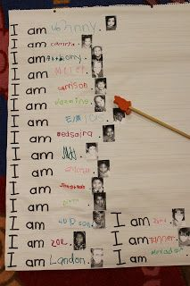 """Even more fun, make a class book, with each student getting a page. The words would be in a speech bubble, """"I am----"""", or """"My name is---and I like---"""". Kids who are ready for more complex sentences could interview kids and write the results."""