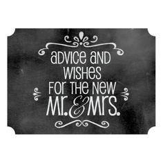 Chalkboard Wedding Sign: Advice & Wishes Invite