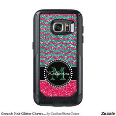 Black and pink glitter chevron pattern sturdy defender otter box Samsung Galaxy Personalized with your name and monogram. Design by Caroline Leskiw Size: Samsung Galaxy Gender: unisex. Samsung S7 Edge Cases, Samsung Galaxy S7 Case, Otter Box, Glitter Chevron, Pink Glitter, Cool Phone Cases, Iphone Cases, Iphone 8, Girly Gifts