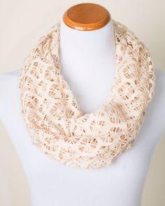 Eliza Cream Crochet Infinity Scarf