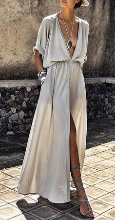 Deep V-neck Maxi Shirtdress  $29.99 ( 63%OFF)
