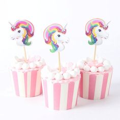 Decorate your party treats with these cute unicorn cupcake toppers. 24 pieces per pack. Set includes cupcake toppers only, cupcake wrappers not included. Please allow 3-4 weeks for processing and delivery. FREE SHIPPING!