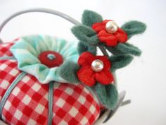 Pincushion Pail with Blossoms in Red Gingham. $12.00, via Etsy.