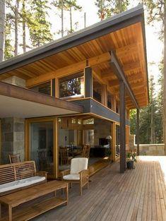 45 Cool and Cozy Small Backyard Seating Area Ideas - Page 11 of 50 Small Backyard Decks, Backyard Seating, Cozy Backyard, Small Pergola, Deck Design, Modern House Design, Rooftop Design, Floor Design, Modern Mountain Home