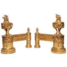 Pair of Antique French Louis XVI Style Dore Bronze Fireplace Chenets | From a unique collection of antique and modern andirons at https://www.1stdibs.com/furniture/building-garden/andirons/
