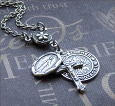 Silver Religious Medal Necklace - Enchanted Traveler's Protection - By TheEnchantedLocket
