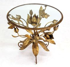 Pair of Italian Round Gold Gilt Flowers End Tables in Arthur Court Style | From a unique collection of antique and modern side tables at http://www.1stdibs.com/furniture/tables/side-tables/