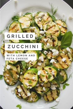 This greek inspired Grilled Zucchini with Lemon and Feta Cheese recipe is a great side dish to everything grilled. It is easy, delicious and comes together quickly. It can also be prepared ahead of time and served at room temperature. Feta Cheese Recipes, Veggie Recipes, Vegetarian Recipes, Cooking Recipes, Healthy Recipes, Grilled Zucchini Recipes, Summer Vegetable Recipes, Grilled Vegetable Recipes, Zuchinni Recipes