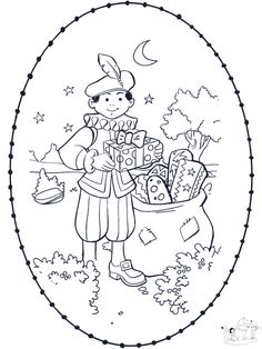 sinterklaas knutselen - Google zoeken Colouring Pages, Coloring Sheets, Winter Festival, Black And White Drawing, Winter Theme, Halloween, Stencils, Diy And Crafts, December