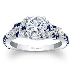 "Barkev's 14K White Gold and Blue Sapphire Encrusted ""Petal"" Engagement Ring With 0.32 Carats Marquise Cut Diamonds and 0.32 Carats Blue Sapphires Style 7932LBSW"