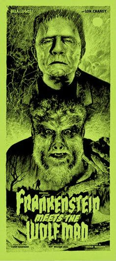Frankenstein Meets The Wolf Man (Variant) – Poster - Canvas Print - Wooden Hanging Scroll Frame Horror Posters, Film Posters, Classic Horror Movies, Horror Films, The Frankenstein, Famous Monsters, Classic Monsters, Alternative Movie Posters, Vintage Horror