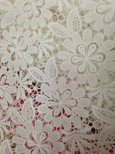 White Cotton Lace Fabric, Eyelet Lace Fabric, Floral Embroidered Lace Fabric, Fabric by Yard