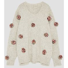 OVERSIZED POMPOMS SWEATER - View all-KNITWEAR-WOMAN | ZARA Italy ($59) ❤ liked on Polyvore featuring tops, sweaters, pom pom sweaters, oversized tops, oversized sweater, over sized sweaters and pom pom tops